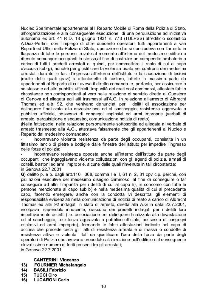 Nucleo Sperimentale appartenente al I Reparto Mobile di Roma della Polizia di Stato,all'organizzazione e alla conseguente ...