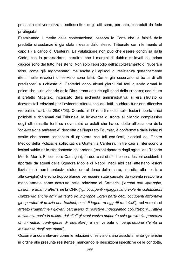 Le motivazioni della sentenza della corte di appello di genova sui fatti del g8 luglio 2001 . l'assalto alla scuola diaz. ...
