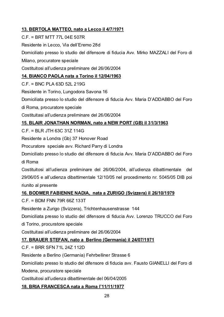 13. BERTOLA MATTEO, nato a Lecco il 4/7/1971C.F. = BRT MTT 77L 04E 507RResidente in Lecco, Via dell'Eremo 28dDomiciliato p...