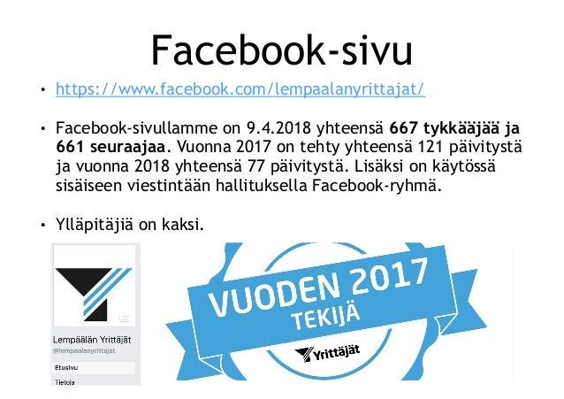 Lempäälän Yrittäjät sosiaalisessa mediassa keväällä 2018 Slide 2