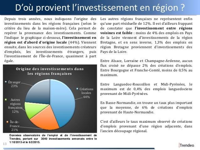 D'où provient l'investissement en région ? 13 Depuis trois années, nous indiquons l'origine des investissements dans les r...