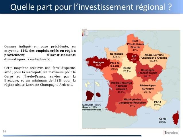 Quelle part pour l'investissement régional ? 14 Comme indiqué en page précédente, en moyenne, 44% des emplois créés en rég...