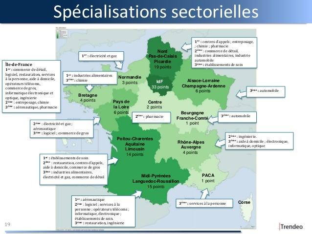 Spécialisations sectorielles 19 Midi-Pyrénées Languedoc-Roussillon 15 points Pays de la Loire 6 points PACA 1 point Poitou...
