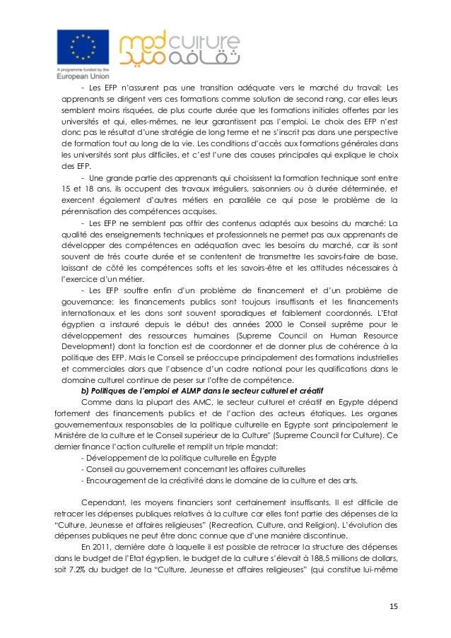 15 - Les EFP n'assurent pas une transition adéquate vers le marché du travail: Les apprenants se dirigent vers ces format...