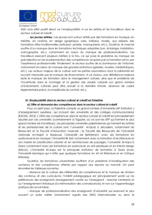 19 bâti, sans effet positif direct sur l'employabilité, ni sur les artistes et les travailleurs dans le secteur culturel ...