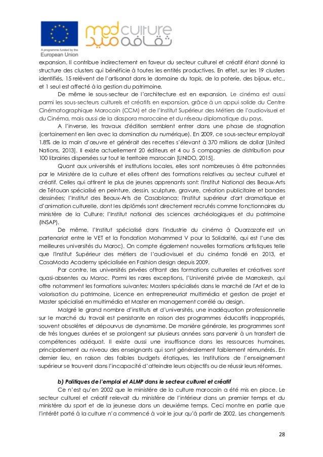 28 expansion. Il contribue indirectement en faveur du secteur culturel et créatif étant donné la structure des clusters q...