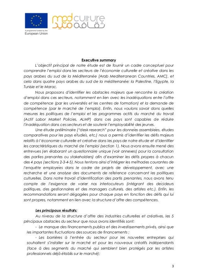 3 Executive summary L'objectif principal de notre étude est de fournir un cadre conceptuel pour comprendre l'emploi dans ...