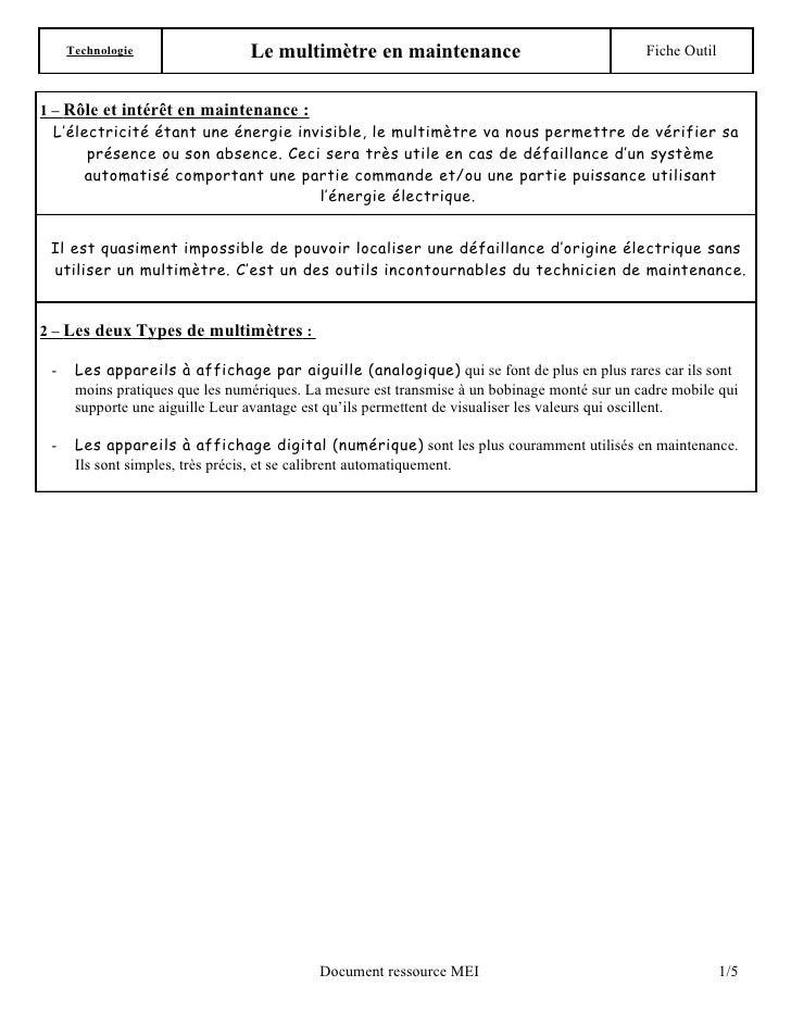 Technologie                 Le multimètre en maintenance                                 Fiche Outil   1 – Rôle et intérêt...