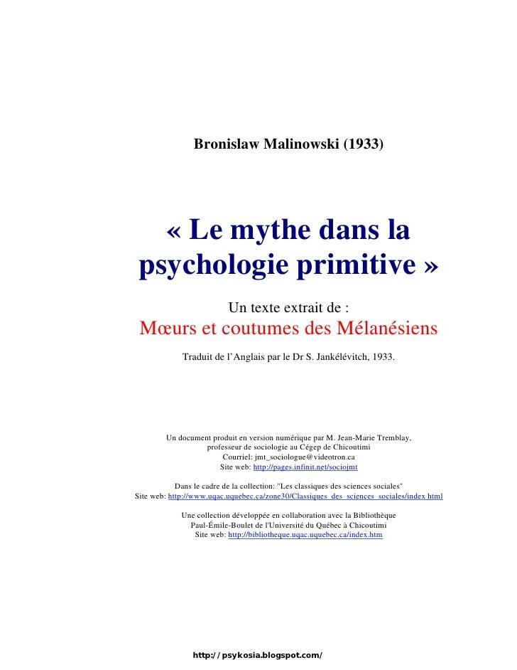 Le mythe dans la psychologie primitive
