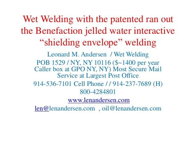 Len Andersen 914 536 7101 Underwater Welding Engineer