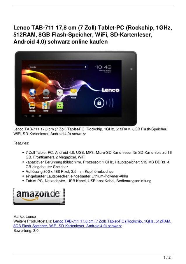 Tablet Online Kaufen : lenco tab 711 17 8 cm 7 zoll tablet pc rockchip 1ghz 512ram 8gb ~ Watch28wear.com Haus und Dekorationen