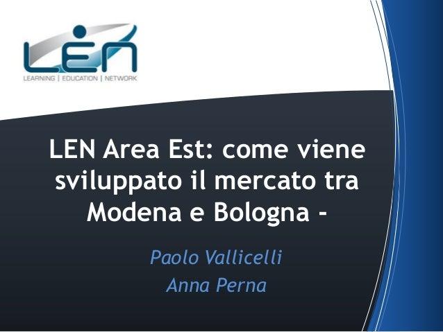 LEN Area Est: come viene sviluppato il mercato tra Modena e Bologna Paolo Vallicelli Anna Perna