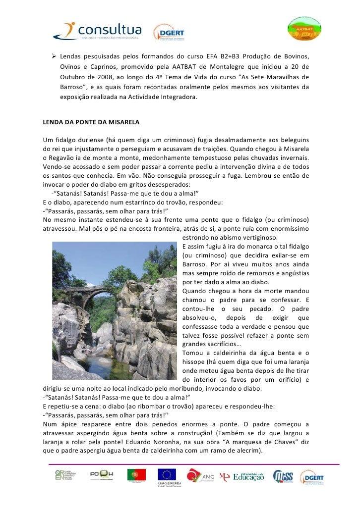  Lendas pesquisadas pelos formandos do curso EFA B2+B3 Produção de Bovinos,     Ovinos e Caprinos, promovido pela AATBAT ...
