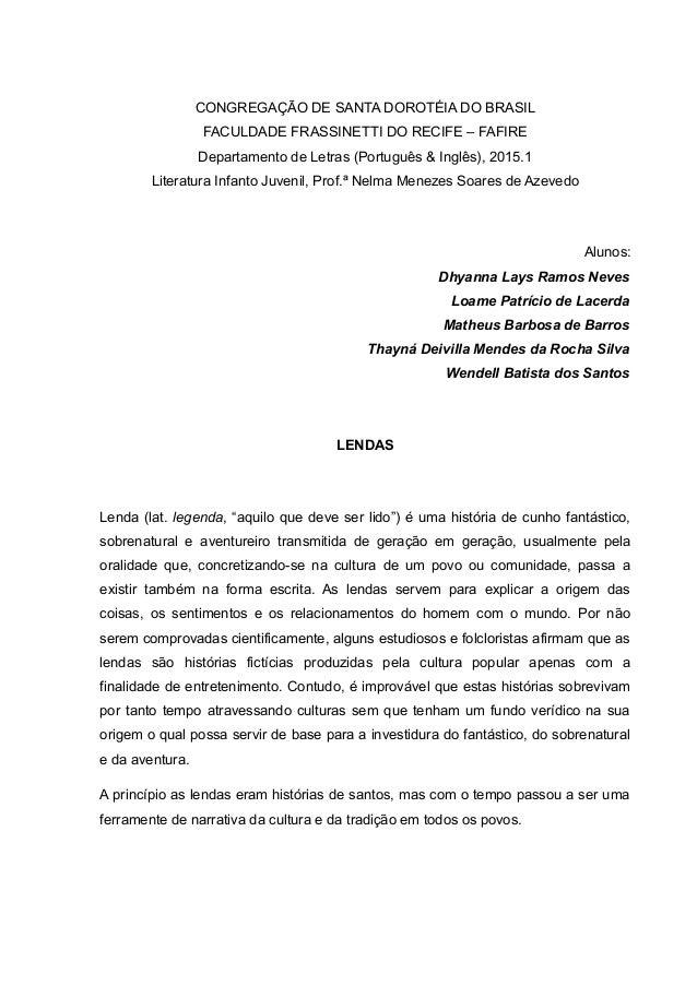 CONGREGAÇÃO DE SANTA DOROTÉIA DO BRASIL FACULDADE FRASSINETTI DO RECIFE – FAFIRE Departamento de Letras (Português & Inglê...