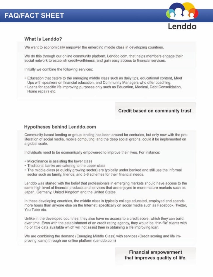 Lenddo FAQ and Fact Sheet