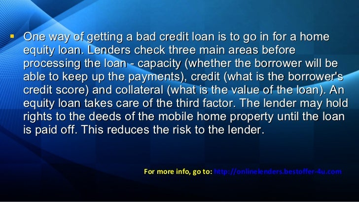 Loans For Bad Credit With Monthly Payments >> Lenders for bad credit - Mobile home loans