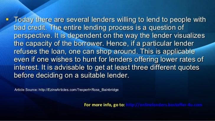 Lenders for bad credit - Mobile home loans