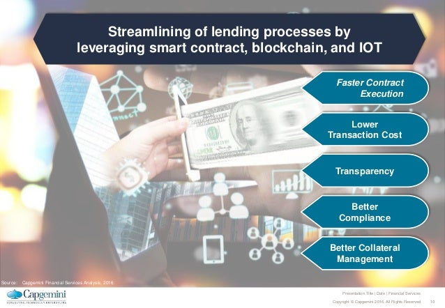10Copyright © Capgemini 2016. All Rights Reserved Presentation Title | Date | Financial Services Streamlining of lending p...