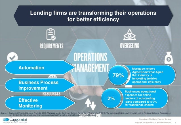 4Copyright © Capgemini 2016. All Rights Reserved Presentation Title | Date | Financial Services Lending firms are transfor...