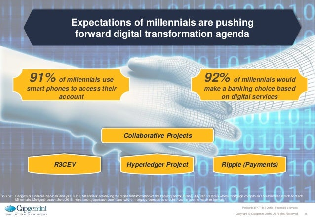 8Copyright © Capgemini 2016. All Rights Reserved Presentation Title | Date | Financial Services Expectations of millennial...