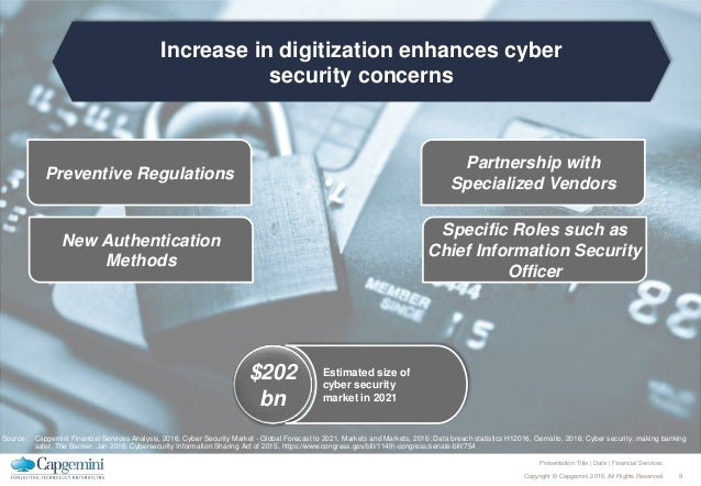 9Copyright © Capgemini 2016. All Rights Reserved Presentation Title | Date | Financial Services Increase in digitization e...