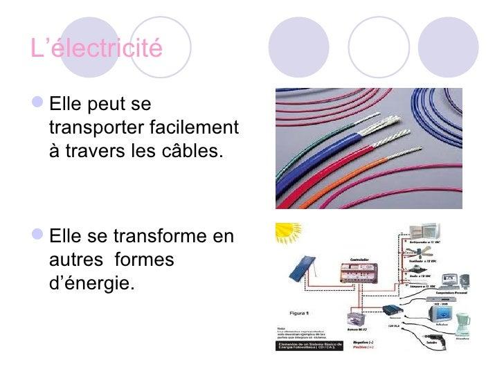 L'électricité <ul><li>Elle peut se transporter facilement à travers les câbles. </li></ul><ul><li>Elle se transforme en au...