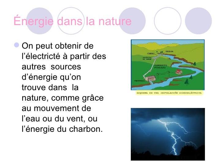 Énergie dans la nature <ul><li>On peut obtenir de l'électricté à partir des autres  sources d'énergie qu'on trouve dans  l...