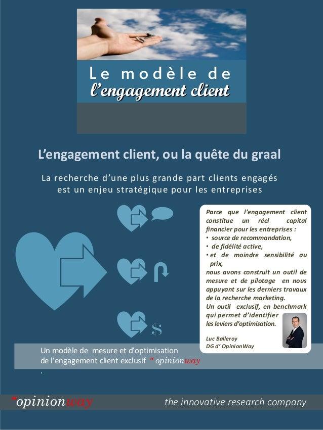L'engagement client, ou la quête du graal  the innovative research company  Le modèle de  l'engagement client  Parce que l...