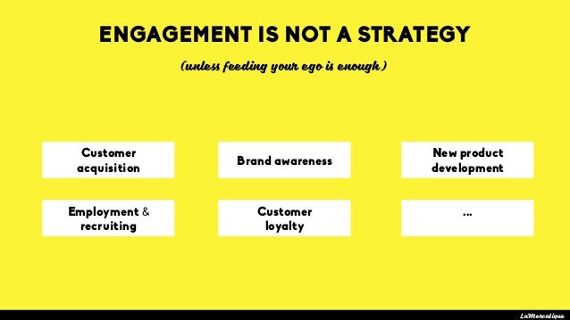 Customer acquisition LaMercatique Brand awareness New product development ENGAGEMENT IS NOT A STRATEGY Employment & recrui...