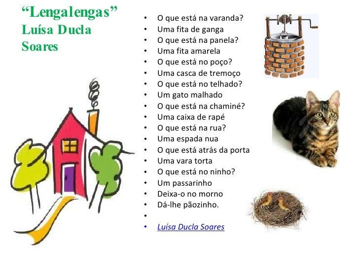 """"""" Lengalengas"""" Luísa Ducla Soares <ul><li>O que está na varanda? </li></ul><ul><li>Uma fita de ganga </li></ul><ul><li>O q..."""