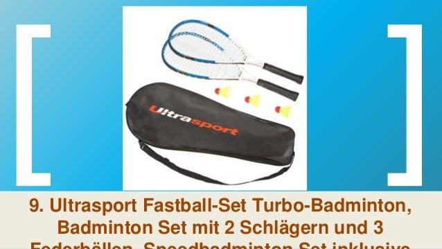Badminton Set mit 2 Schl/ägern und 3 Federb/ällen ideal f/ür das schnelle Match zwischendurch Ultrasport Fastball-Set Turbo-Badminton Speedbadminton Set inklusive Tragetasche