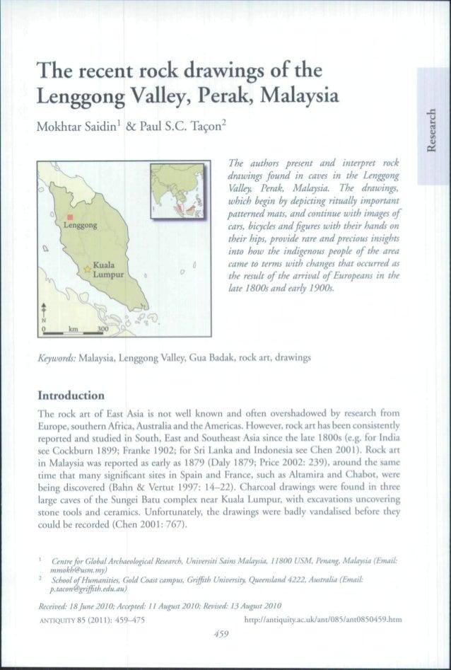 The recent rock drawings of the Lenggong Valley, Perak, Malaysia Mokhtar Saidin' &c Paul S.C. Taçon'  ->  •  ^  Lenggong  ...