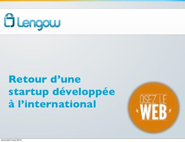 Retour d'une      startup développée      à l'internationalmercredi 2 mai 2012