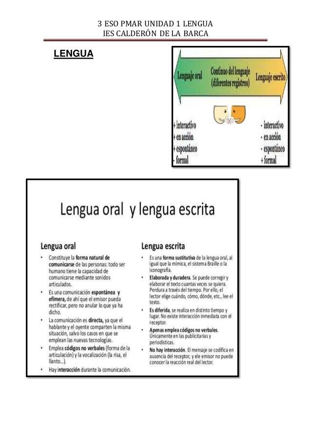 3 ESO PMAR UNIDAD 1 LENGUA IES CALDERÓN DE LA BARCA LENGUA