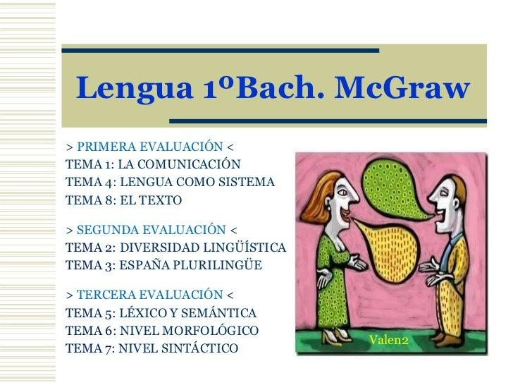 Lengua 1ºBach. McGraw >  PRIMERA EVALUACIÓN  < TEMA 1:   LA COMUNICACIÓN TEMA 4:  LENGUA COMO SI S TEMA TEMA 8:  EL TEXTO ...