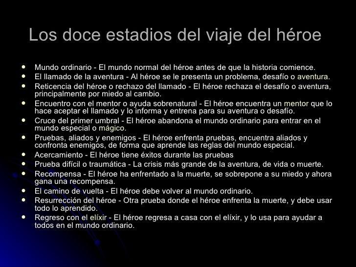 Los doce estadios del viaje del héroe   <ul><li>Mundo ordinario - El mundo normal del héroe antes de que la historia comie...