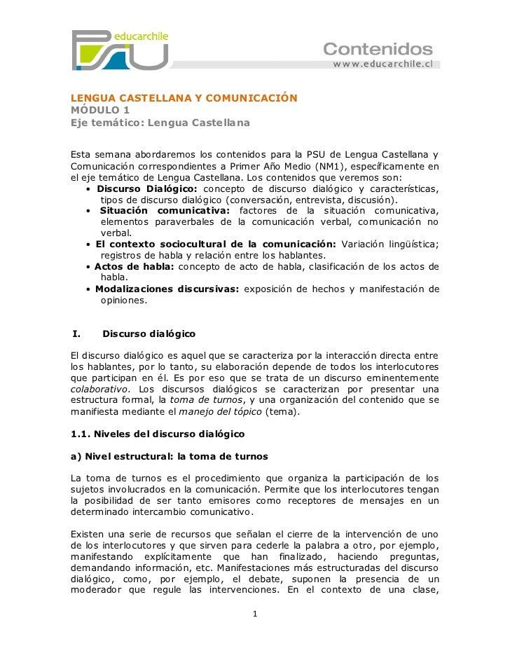 LENGUA CASTELLANA Y COMUNICACIÓNMÓDULO 1Eje temático: Lengua CastellanaEsta semana abordaremos los contenidos para la PSU ...
