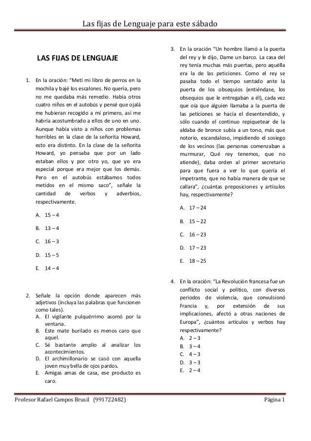 Las fijas de Lenguaje para este sábado Profesor Rafael Campos Brusil (991722482) Página 1 LAS FIJAS DE LENGUAJE 1. En la o...