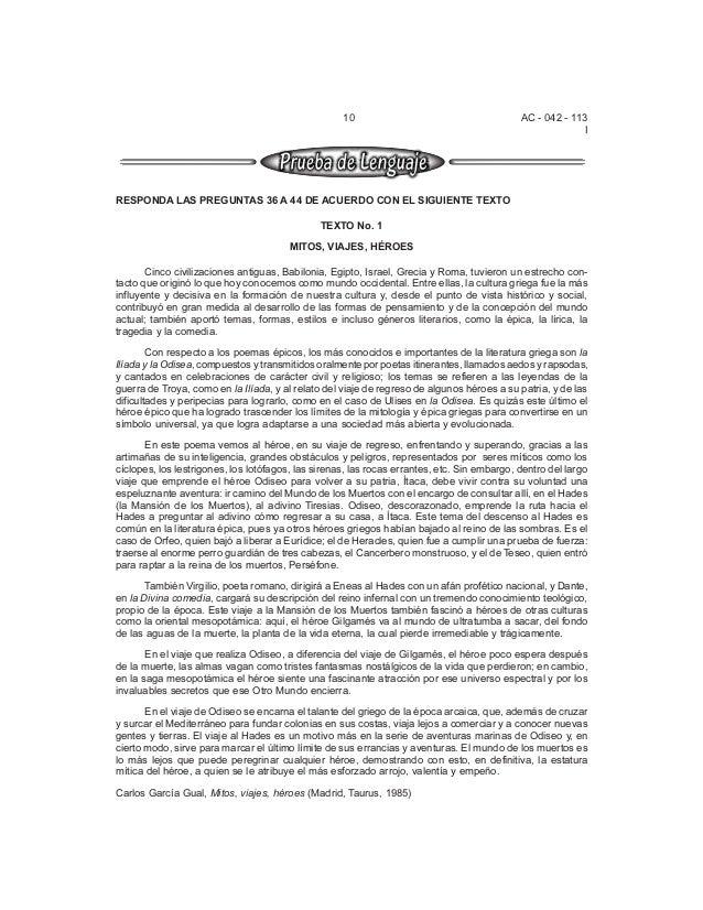 AC - 042 - 113  I  10  RESPONDA LAS PREGUNTAS 36 A 44 DE ACUERDO CON EL SIGUIENTE TEXTO  TEXTO No. 1  MITOS, VIAJES, HÉROE...