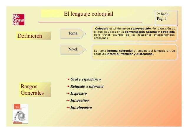 El lenguaje coloquialEl lenguaje coloquial Definición TemaTema NivelNivel Coloquio es sinónimo de conversación. Por extens...