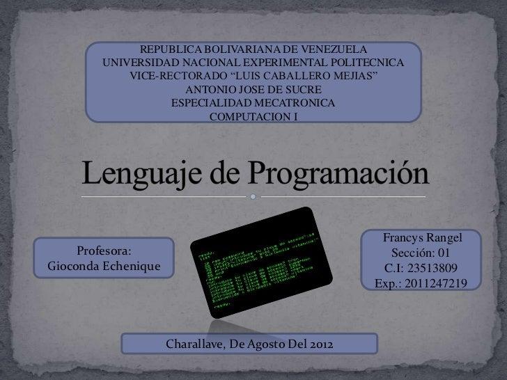 """REPUBLICA BOLIVARIANA DE VENEZUELA        UNIVERSIDAD NACIONAL EXPERIMENTAL POLITECNICA            VICE-RECTORADO """"LUIS CA..."""