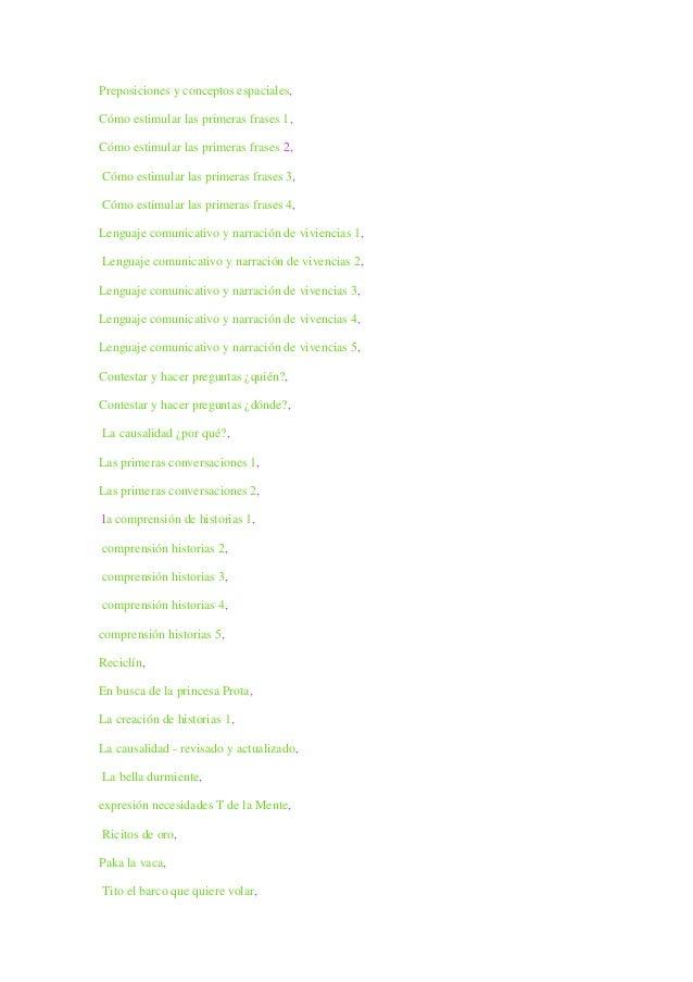 Preposiciones y conceptos espaciales, Cómo estimular las primeras frases 1, Cómo estimular las primeras frases 2, Cómo est...