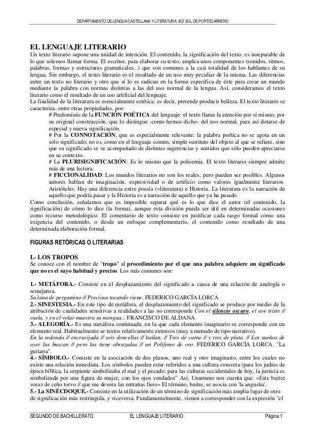 DEPARTAMENTO DE LENGUA CASTELLANA Y LITERATURA. IES SOL DE PORTOCARRERO SEGUNDO DE BACHILLERATO EL LENGUAJE LITERARIO Pági...