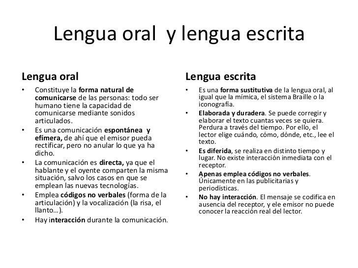 Lengua oral  y lengua escrita<br />Lengua oral<br />Constituye la forma natural de comunicarse de las personas: todo ser h...