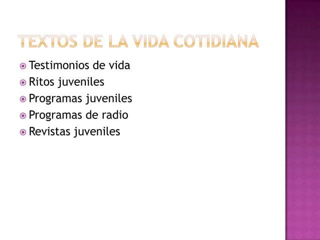  Testimonios de vida  Ritos juveniles  Programas juveniles  Programas de radio  Revistas juveniles