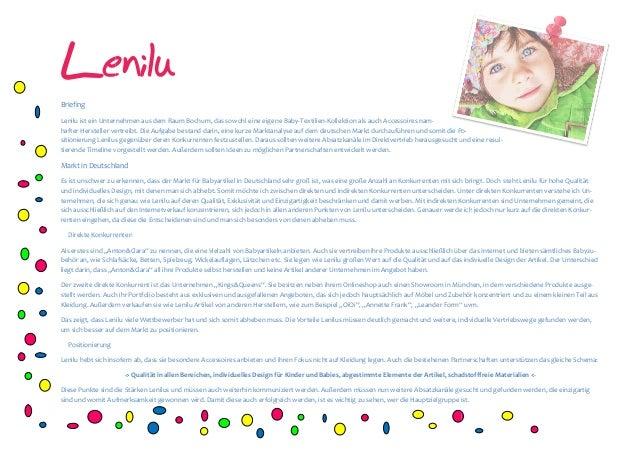 Lenilu Briefing Lenilu ist ein Unternehmen hafter Hersteller vertreibt. Die Aufgabe bestand darin, eine sitionierung Lenil...