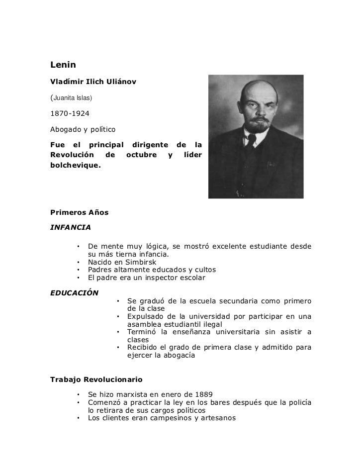 LeninVladímir Ilich Uliánov(Juanita Islas)1870-1924Abogado y políticoFue el principal dirigente de laRevolución   de octub...