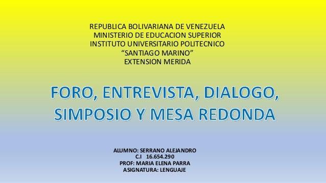 """REPUBLICA BOLIVARIANA DE VENEZUELA MINISTERIO DE EDUCACION SUPERIOR INSTITUTO UNIVERSITARIO POLITECNICO """"SANTIAGO MARINO"""" ..."""