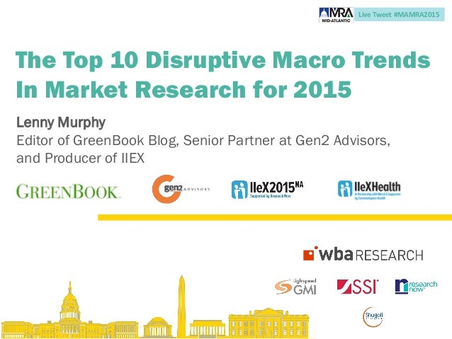 Live Tweet #MAMRA2015 The Top 10 Disruptive Macro Trends In Market Research for 2015 Lenny Murphy Editor of GreenBook Blog...