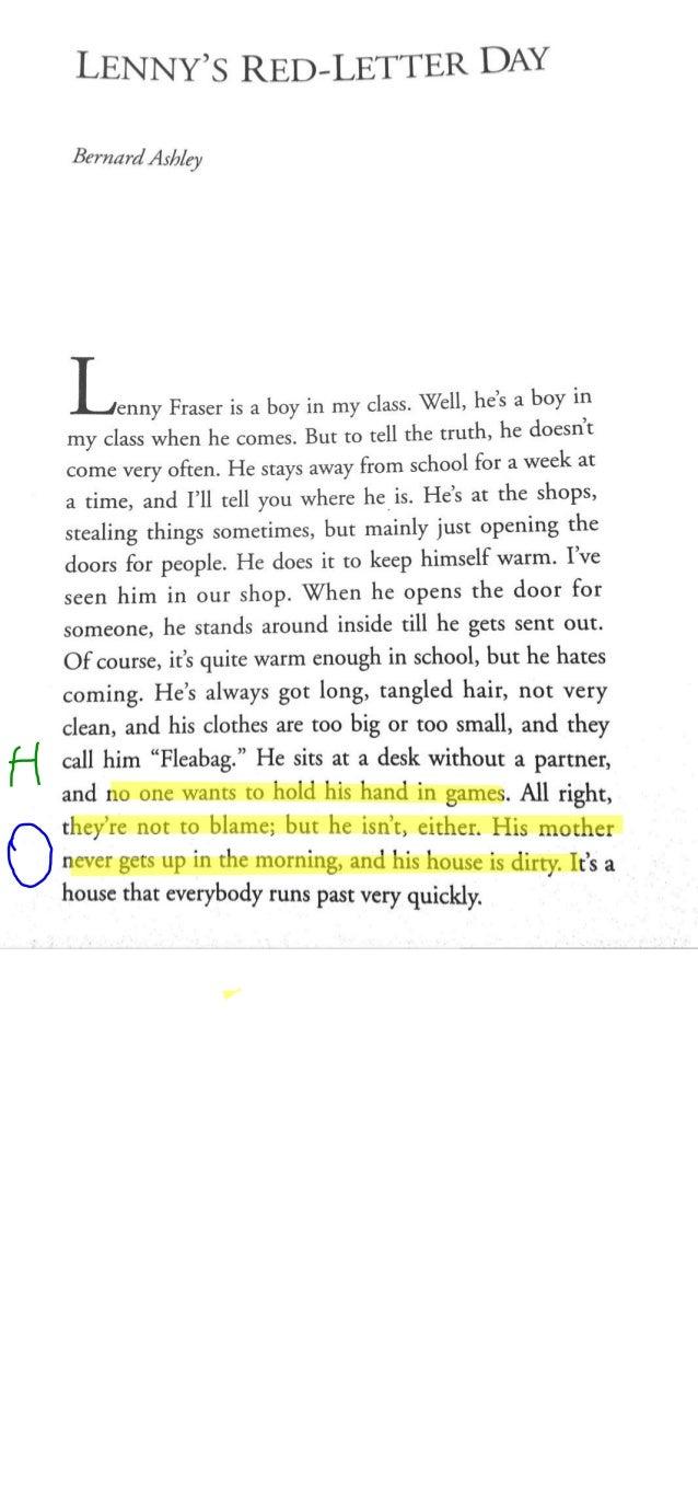 LENNY's RED—LETTER DAY  Bernard A5/7/ey  —~'—  -' _A'enny Fraser is a boy in my class.  Well,  he's a boy in my class when...